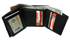 BLACK MENS GENUINE LEATHER ID WINDOW TRIFOLD WALLET FLAP TOP 9 CARDS FREE SHIP