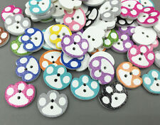 50pcs Cute Mixed  Wooden cartoon dog paw prints Buttons sewing scrapbooking 15mm