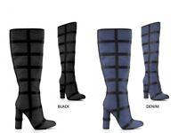 New Women Contrast Trim Cage Denim Knee High Boot Block Chunky Thick Heel Zipper