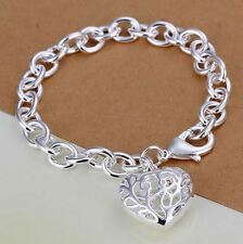 925 Sterling Silver Layered THICK PLAIN CHUNKY CHAIN LINK BRACELET Heart Tag