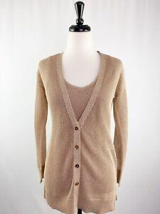 White House XSP Black Market Metallic Rose Gold Knit Sweater & Tank Top