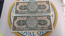 Two Consecutive Vintage 1954 Banco De Mexico 1 Un Peso Banknotes - Nice Crisp!