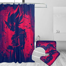 Dragon Ball Z Red Goku Bathroom Rugs Set 4PCS Shower Curtain Toilet Seat Cover