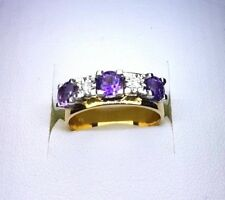18k Amethyst and Diamond Ring 750 yellow and white gold
