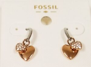 NEW FOSSIL ROSE GOLD TONE,CRYSTAL PAVE 2 HEARTS STUD EARRINGS JOF00236791