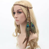 Women Girl suede leather Bohemian Peacock feather Braided headband Hair<