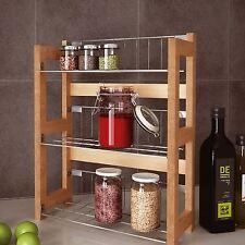 Free Standing Spice Rack Wooden Jar Storage Organizer Rack Shelving Unit Holder