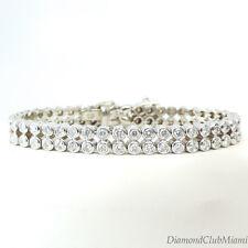 Estate 5.28ct Diamond Italian 18K White Gold Tennis Line Bracelet  32.8 Grams
