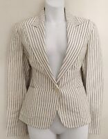 $250 NWT LAUREN RALPH LAUREN Womens Linen Blend Blazer Jacket Sz 6 Ivory Black