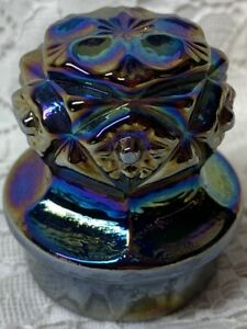 purple carnival glass decanter bottle perfume stopper cork / alcohol iridescent
