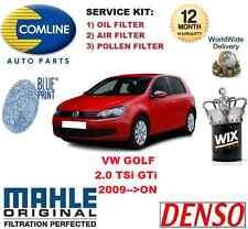 FOR VW GOLF 2.0 TSi GTi MK6 2009->ON OIL AIR POLLEN (3) FILTER SERVICE KIT SET