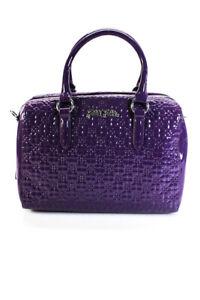 Folli Follie Womens H4H Embossed Patent Leather Large Handbag Purple