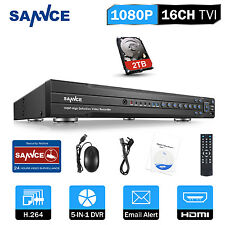 SANNCE 16CH 5in1 1080P H.264 DVR 2MP Recorder for Security Camera System 2TB HDD