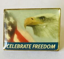 Celebrate Freedom USA American Flag Military Pin Badge Rare Vintage (F7)