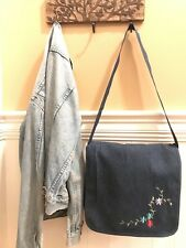 Denim Messenger/ Laptop/ Notebook Bag, Floral Stitch Embellishment, Nylon Strap