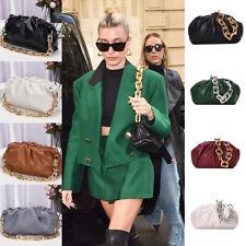 Celeb Genuine Leather The Chain Pouch Cloud Clutch Handbag Hailey Baldwin Bieber