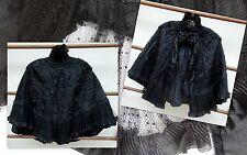 Impresionante 19th C Seda Capucha Chal Capa Victoriano Antiguo Negro de la cinta de seda