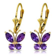 Genuine Amethyst Gemstones Butterfly Dangle Leverback Earrings in 14K Solid Gold