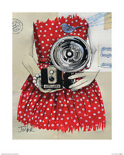 UNIQUE HIPSTER GIFT CALLED FLASH ART PRINT red dress vintage camera 16x20 poster