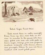 VINTAGE FARMER PIGS FOLK ART BAKED SUGAR HAM RECIPE PRINT 1 CHRISTMAS TEA CARD