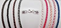 3mm Braided Sterling Silver Leather Bolo Necklace u pick length 15 thru 20 ""