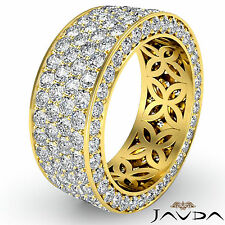 4 Row Pave Eternity Round Diamond Ring Women Wedding Band 18k Yellow Gold 3.50Ct
