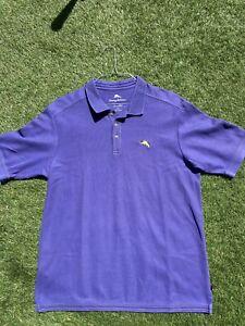 TOMMY BAHAMA SUPIMA Men's Purple PIMA COTTON Blend Polo Shirt Sz L - LSU