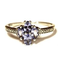 10k white gold .01ct diamond tanzanite womens ring 2.4g estate vintage