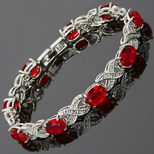 Charming! Red Ruby White Gold Gp Garnet Tennis Bracelet Jewelry