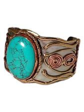 Welded Mixed Metal Cuff Bracelet with Large TURQUOISE Stone, by Anju