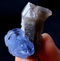 New Find Transparent Blue Cube FLUORITE & CRYSTAL CLUSTER MINERAL SPECIMEN16.7g