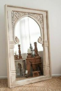 Antique Royal Mirror, Indian Hand Carved Wooden Mirror, Rustic Indian Mirror