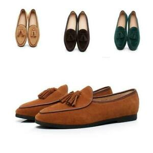 Mens Belgian Dress Shoes Real Leather Slippers Loafers Slip on Flats Tassels win