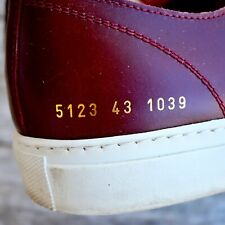 Common Projects Achilles Sneakers Size 10 USA EU 43 Burgundy Leather Italy $435