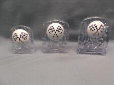 set of 3 clear acrylic trophy cub scout derby domed checkered flag racing