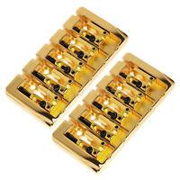 2Pcs Bridge 5 String Bass Guitar Bridges Square Saddle Parts Gold Spacing 19mm