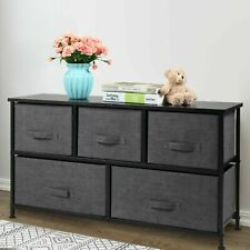 2-Tier 5 Drawers Storage Cabinet Dresser Tower Chest Fabric Home Furniture