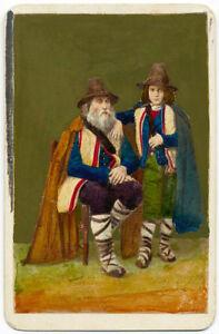 CDV Roma Ciociari Costume tradizionale Foto originale colorata Behles 1870 S1213