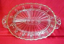 Oyster and Pearl Divided Relish Dish Glass Handled Serving Tray Anchor Hocking