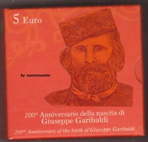 ITALIA ITALIE ITALY 5 EURO 2007  FDC 200° ANNIV. NASCITA G. GARIBALDI ARGENTO 1e