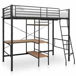 vidaXL Etagenbett mit Tischrahmen Grau 90x200cm Metallbett Hochbett Bett