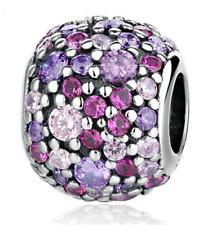 30PCS DIY European Silver Pendant CZ Crystal Charm Beads Fit Necklace Bracelet