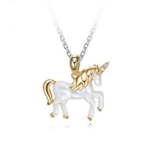 925 Sterling Silver Rose Gold Plated Unicorn Necklace Pendants YP1308