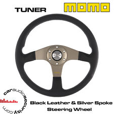 MOMO TUNER 350MM BLACK LEATHER SILVER ALUMINIUM CENTRE SPOKES STEERING WHEEL