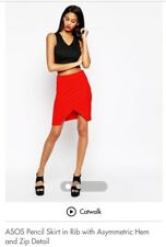 Red Ribbed Asymmetric Mini Skirt