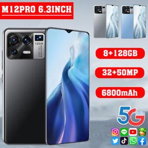 "M12 Pro 6.3"" Face ID Fingerprint Smartphone Android 11.0 8G+128GB 6800mah Phone"