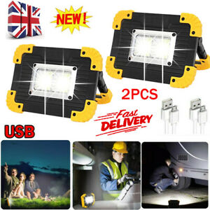 2X USB Rechargeable LED COB Work Light Outdoor Camping Floodlight Emergency Lamp
