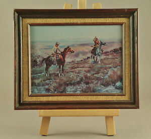 """Charles Russell Signed """"The Toll Collectors"""" Framed Oil Repro Painting Art 1913"""