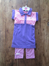 GIRLS PINK AND PURPLE LONSDALE 2 PIECE SET LEGGINGS AND DRESS AGE 6 - 12 MONTH