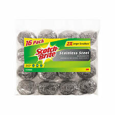 Scotch-Brite 2X Larger Stainless Steel Scrubbers Club Pack, 16 Scrubbers per pac